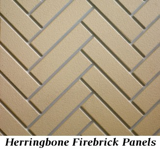 Herringbone firebrick panels for Castlewood 42 inch outdoor wood burning fireplace