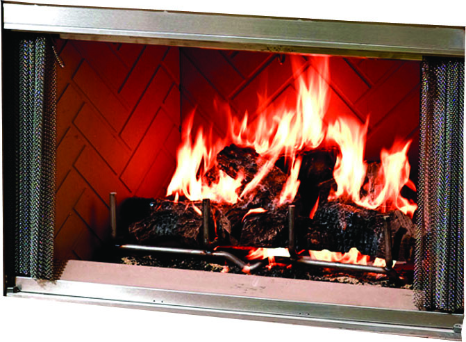 Montana outdoor fireplace operable stainless steel bi-fold doors in chrome finish