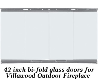42 inch bi-fold glass fireplace doors for Villawood outdoor wood fireplace