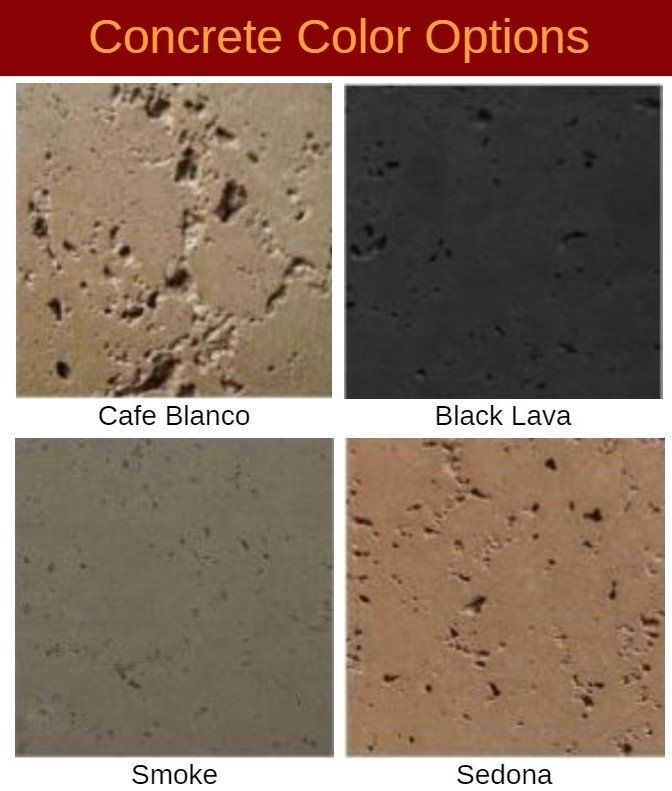 Choose between Cafe Blanco, Black Lava, Smoke, or Sedona for your concrete fire bowl.