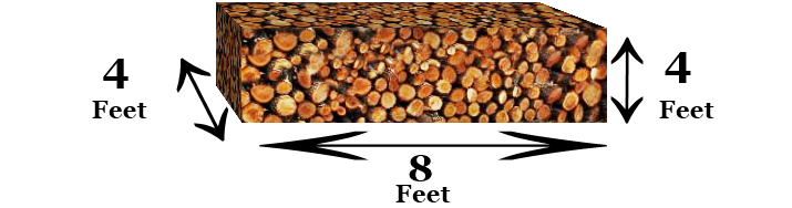 A cord of wood reference image with measurements.