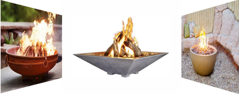 A mix of fire bowls as a reference image and image link.
