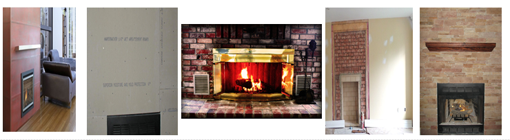 A mix image of home wall types around fireplaces.
