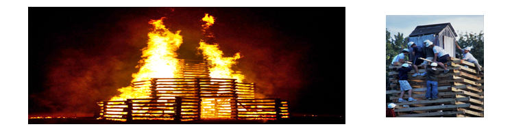 Bonfire safety reference image to show not creating an out of control fire.