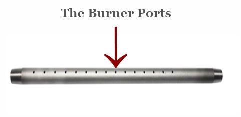 Burner ports reference image for a gas log lighter