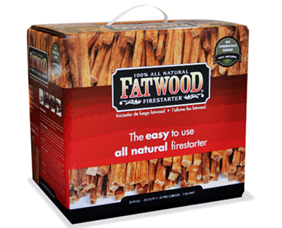 Large box of all natural fatwood fire starting sticks.