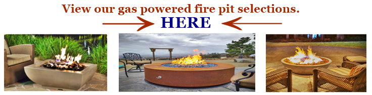 Selection of gas powered fire pits reference image and image link.