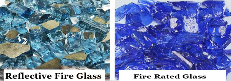Reference image showing reflective fire glass and color by design fire glass.