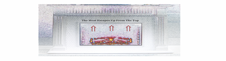 Image graphic of where the heat that can damage a Flat Screen TV leaves a fireplace.