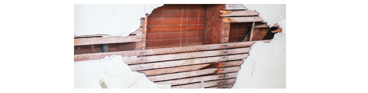 Reference image of wall cut away for a lath and plaster wall.