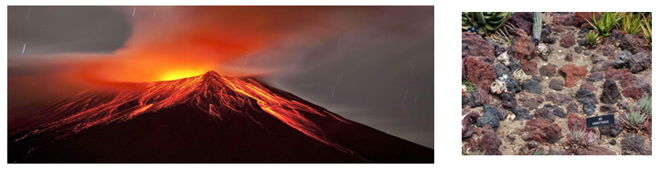 Lava rock and volcano reference image.