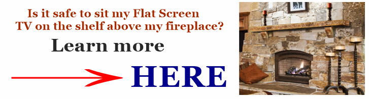 Image link to our informational article on sitting a TV on a fireplace shelf or mantel.