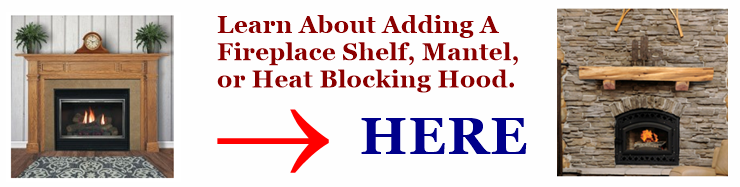 Image link to learning about adding a shelf or mantel to your fireplace.