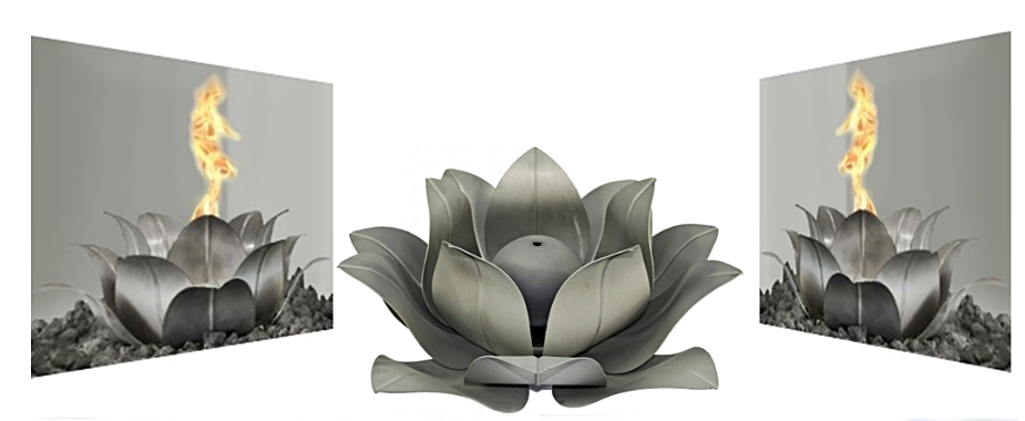 Lotus Flower shaped fire burner for fire pits and fire bowls reference image and image link.