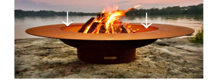 Firepit reference image showing side of bowl clearance for safety.