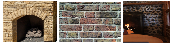 Stone and brick fireplace faces.