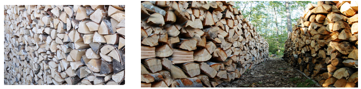 Two reference images of stacks of firewood.