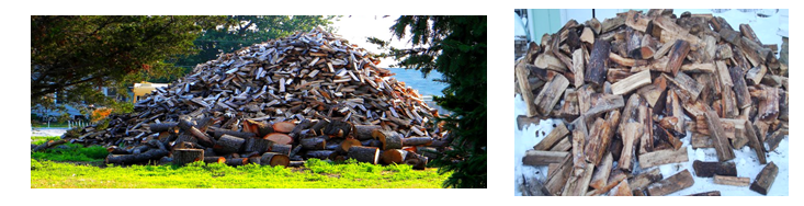 Two huge firewood stacks reference images.