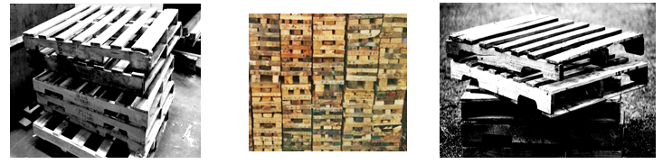 Reference image of wood pallets not to used in outdoor fires.