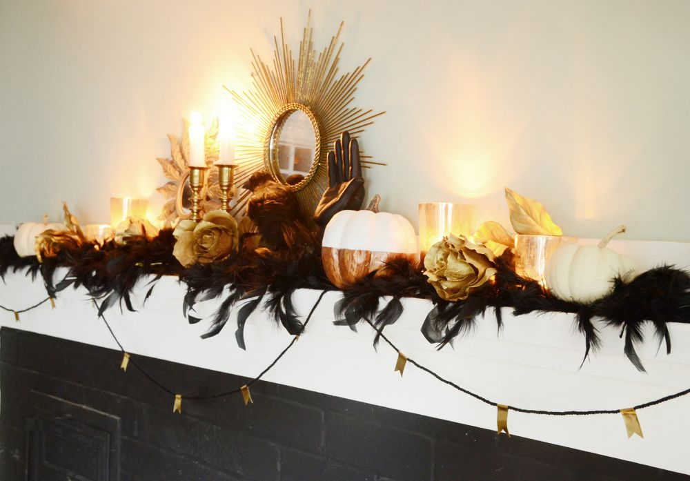 Elegant Halloween mantel decor is absolutely beautiful and with a few changes, can be used year around.