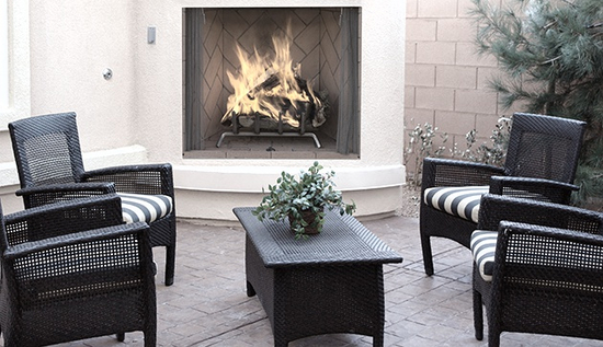 This outdoor wood fireplace makes an excellent addition to any outdoor space!