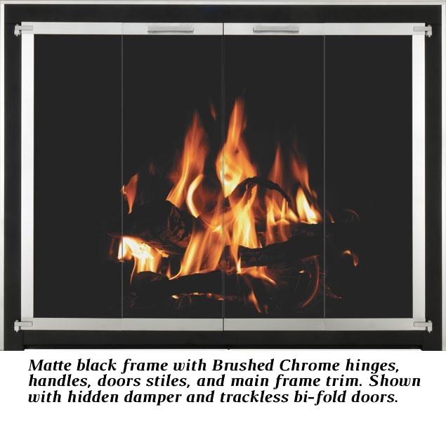 Matte black frame & Brushed Chrome main frame trim/door stiles/hinges/handles