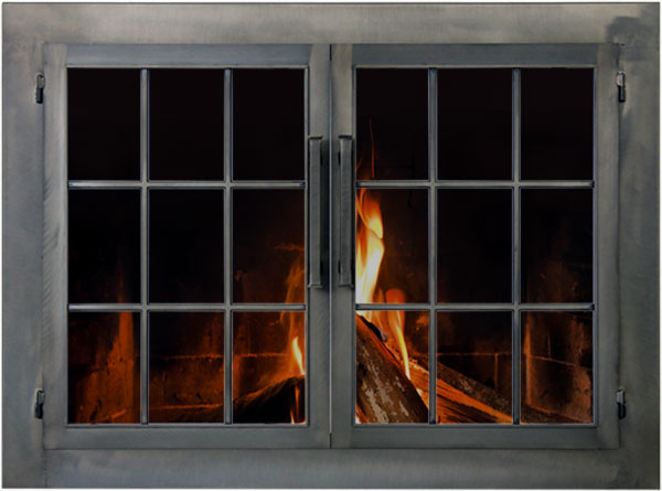 Industrial fireplace door by Stoll fireplace