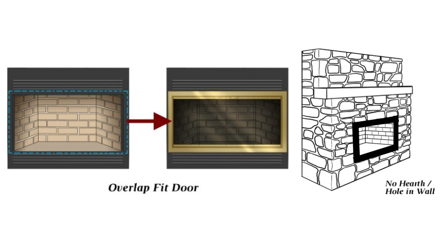 4 sided overlap fit prefab fireplace door can be installed on a zero clearance fireplace with no hearth