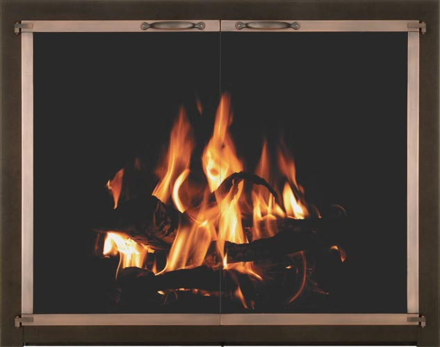 Bar Iron fireplace door by Stoll fireplace