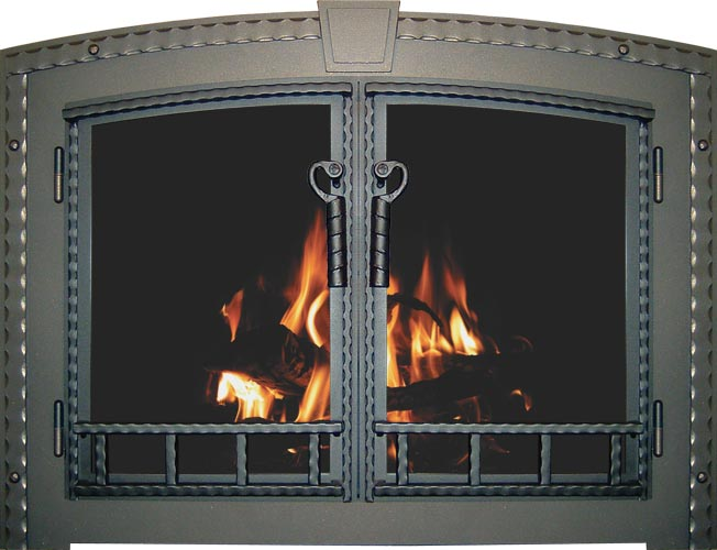 Blacksmith fireplace door by Stoll fireplace