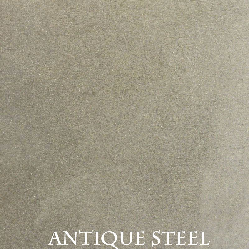 Antique Steel Premium Finish - two-step hand finished process / actual patterns and coloration of all hand-applied finishes may vary.