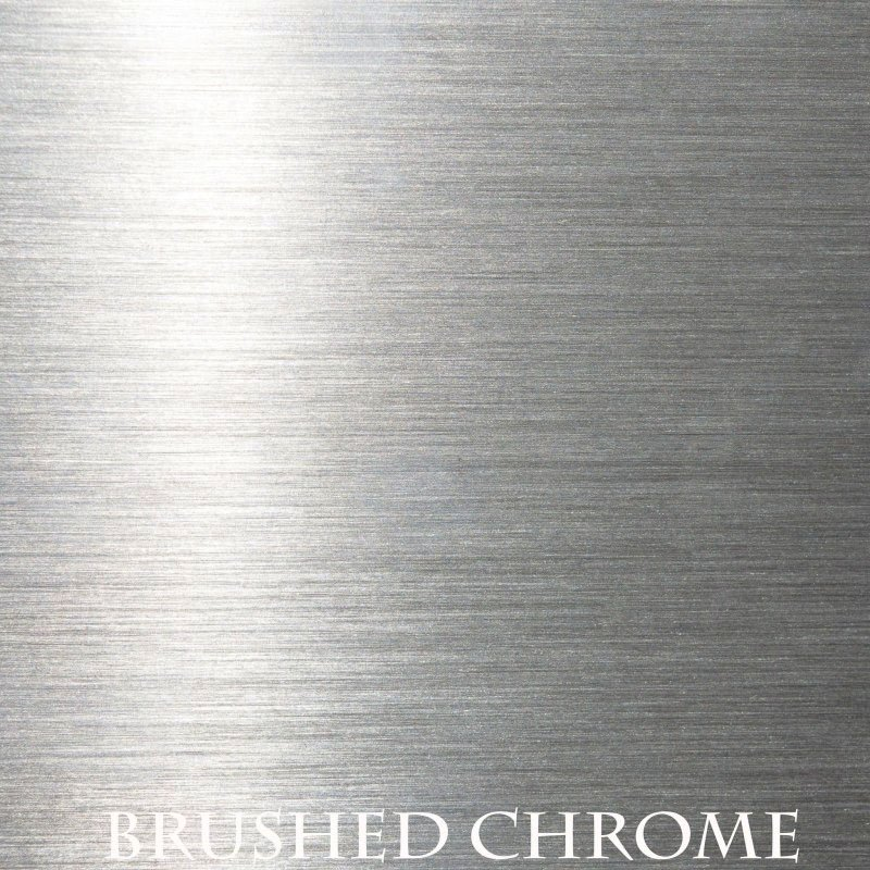 Brushed Chrome overlay finish for fireplace doors