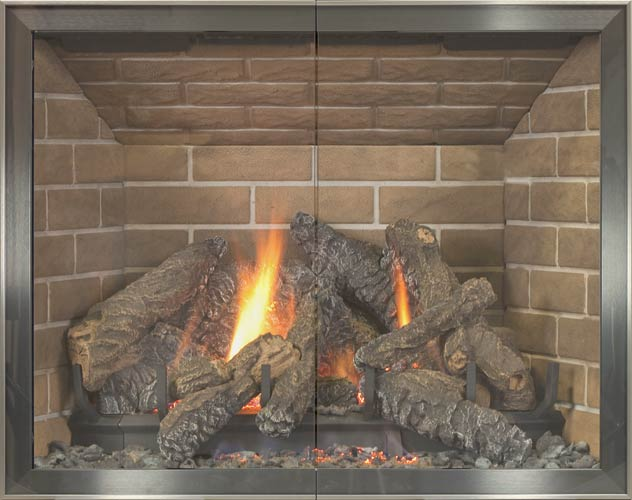 Nolita fireplace door by Stoll fireplace
