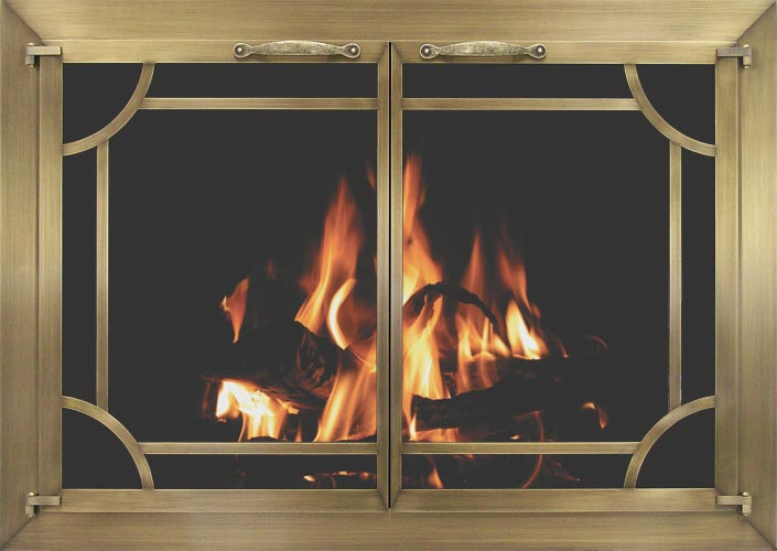 Plated fireplace door by Stoll fireplace