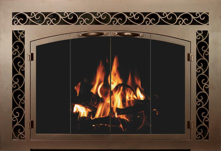 Sidelight and Transom Bar Iron fireplace door by Stoll fireplace