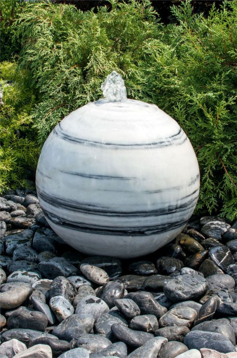 20 Inch White Gray Sphere Fountain Made of Marble