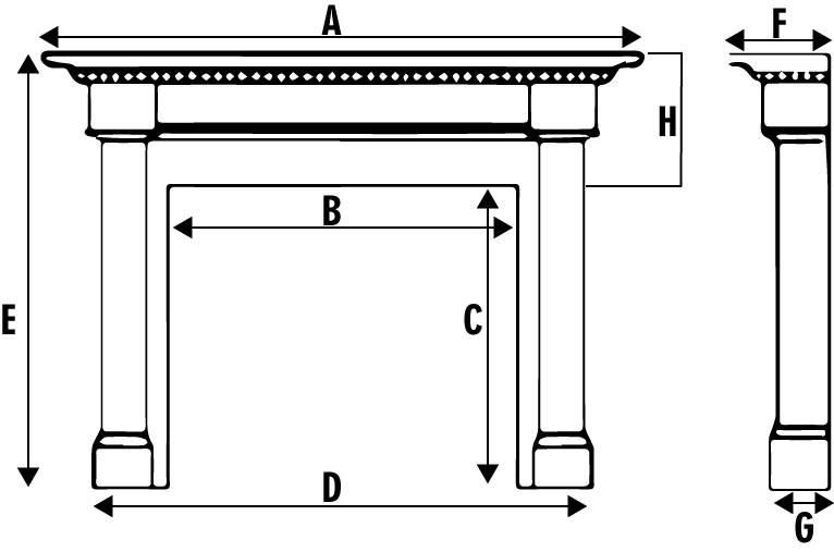 Specs - Avondale fireplace mantel