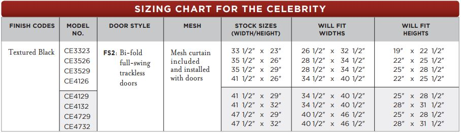 Celebrity Masonry Fireplace Door Sizing Chart