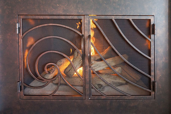 Forged In Fire Fireplace Door With Cabinet Doors