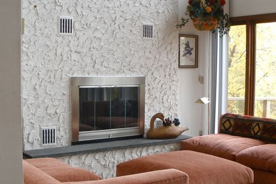 Improved look with a new masonry fireplace door on the Heatilator Mark 123