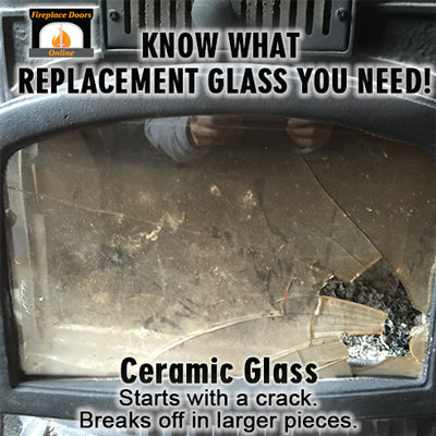 Ceramic glass, or Pyroceram glass is for wood stoves will break by starting with a crack.  Then pieces will break off in large chunks.