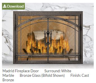 Download a photo of your finished fireplace door using our fireplace door designer.