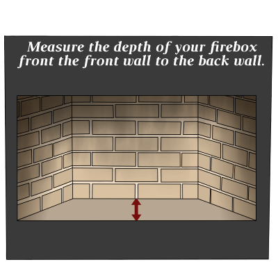 Depth measurement of firebox for fireplace log grate