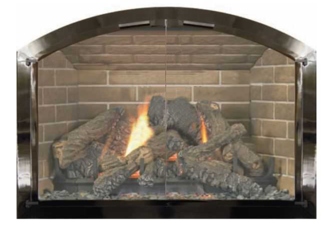 Black Nickel Plated Arched Fireplace Door