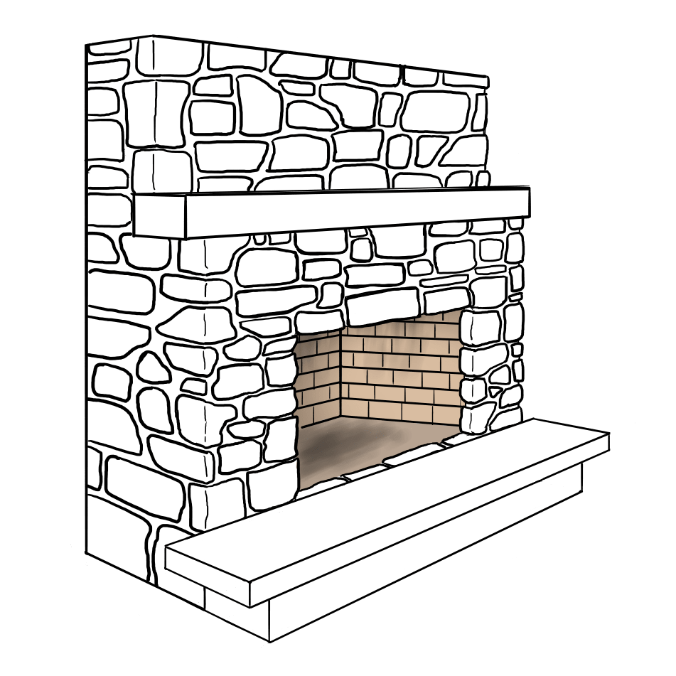 Flush Heath Fireplace Illustration