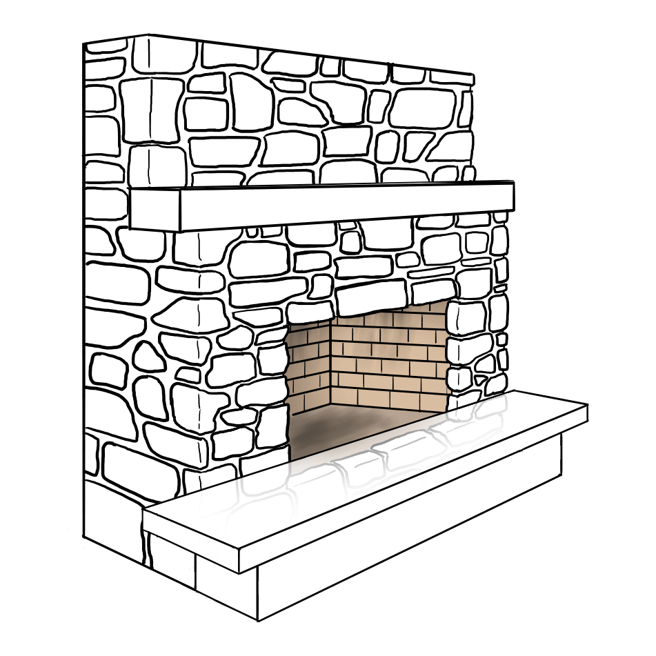 Raised Hearth Fireplace Illustration