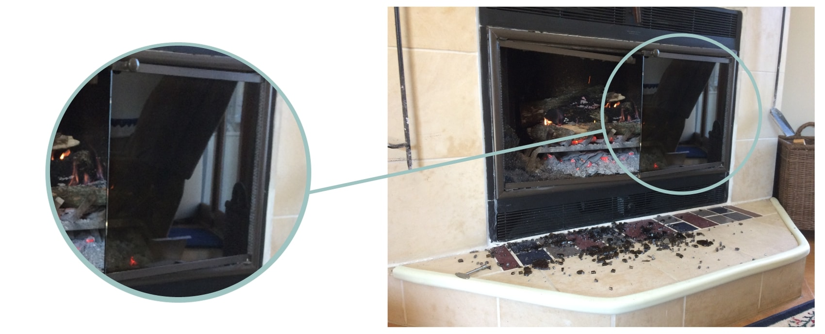 Don't close the doors while burning a fire in a ZC fireplace