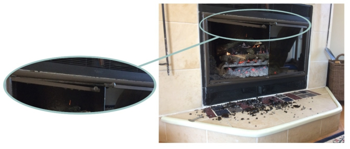 Don't put silicone around a zero clearance fireplace door