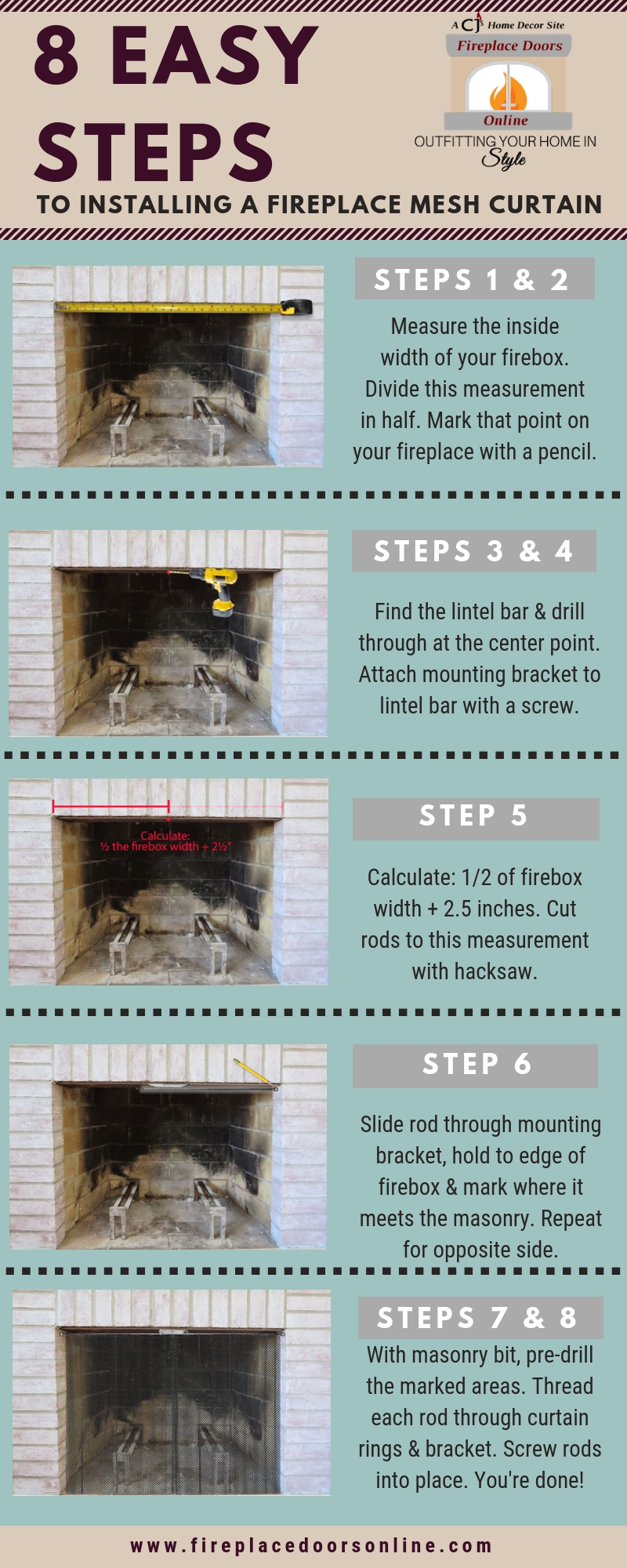 8 Easy Steps to Installing a Fireplace Mesh Curtain infographic