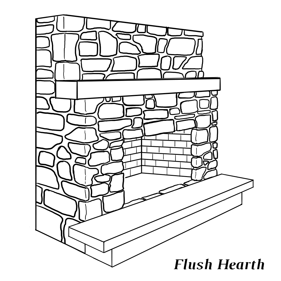 Fireplace with flush hearth (level with firebox)